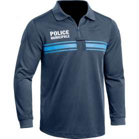 Polo Police Municipale P.M. ONE Manches Longues Bleu Marine