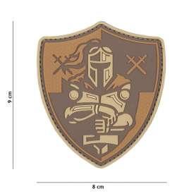 Patch 3D PVC Knight Shield Brown
