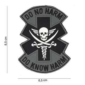 Patch 3D PVC Do No Harm Do Know Harm Gris/Noir