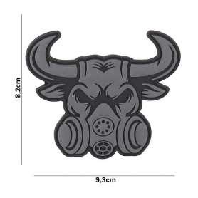 Patch 3D PVC Gas Mask Bull Gris