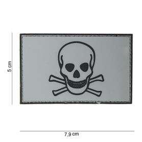 Patch 3D PVC Skull and Bones Gris