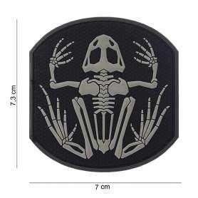 Patch 3D PVC Frog Skeleton Noir/Gris