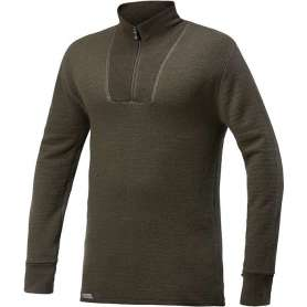 Ullfrotté Zip Turtleneck 400 Vert Pin Woolpower