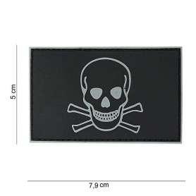 Patch 3D PVC Skull and Bones Noir