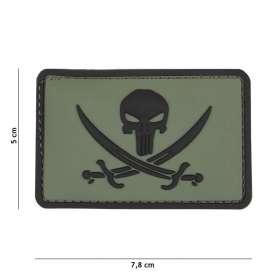 Patch 3D PVC Punisher Pirate Vert OD