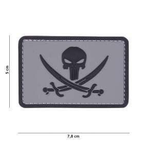 Patch 3D PVC Punisher Pirate Gris/Noir