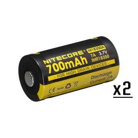 Batterie Rechargeable IMR18350 3.7V 700mAh x2 Nitecore